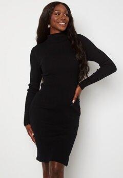 VILA Solto Knit Button L/S Dress Black Bubbleroom.dk
