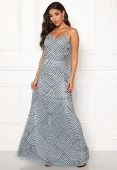 AngelEye Strappy Sequin Maxi Dress Heather Blue Bubbleroom.dk
