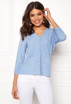Rut & Circle Striped Waist Seam Blouse Mid Blue Bubbleroom.dk