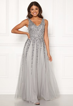 Goddiva Sunray Sequin Maxi Dress Light Grey Bubbleroom.dk
