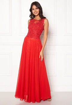 SUSANNA RIVIERI Embroidery Pearl Dress Red Bubbleroom.dk