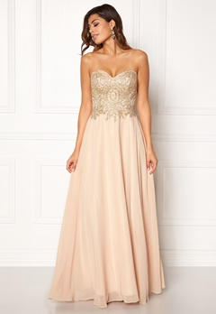 SUSANNA RIVIERI Embellished Chiffon Dress Champagne Bubbleroom.dk