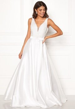 SUSANNA RIVIERI Embellished Satin Dress Ivory Bubbleroom.dk