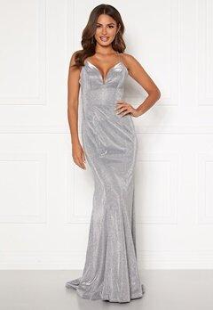 SUSANNA RIVIERI Sparkling Fishtail Dress Silver Bubbleroom.dk