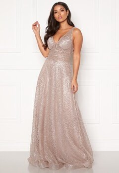 SUSANNA RIVIERI Sparkling Glitter Gown Mauve Bubbleroom.dk