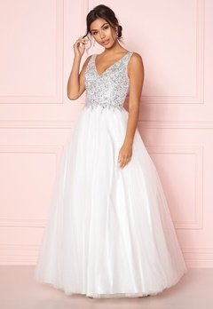 SUSANNA RIVIERI Sparkling Tulle Dress Ivory Bubbleroom.dk