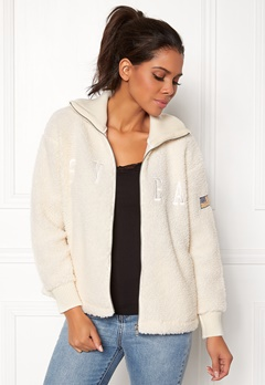 Svea Kathryn Pile Zip Sweater Antique White 023 Bubbleroom.dk