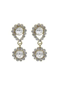 SNÖ of Sweden Swire Small Earrings Gold/Clear Bubbleroom.dk
