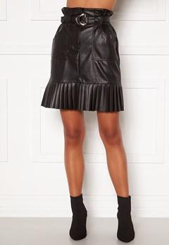 VILA Talina Coated Skirt Black Bubbleroom.dk