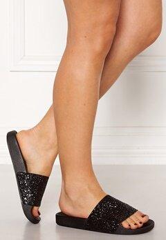 The White Brand Glitter Black Sandals Black Bubbleroom.dk