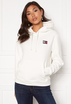 TOMMY JEANS Badge Polar Flecce Hoodie YAP Snow White Bubbleroom.dk