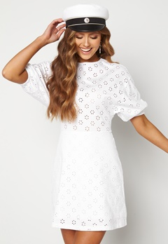 TOMMY JEANS Broderie Anglaise Dress YBR White Bubbleroom.dk