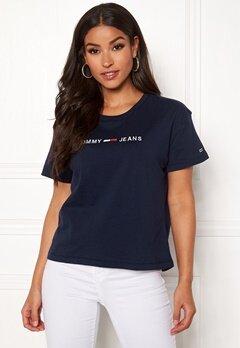 TOMMY JEANS Clean Linear Logo Tee 002 Black Iris Bubbleroom.dk