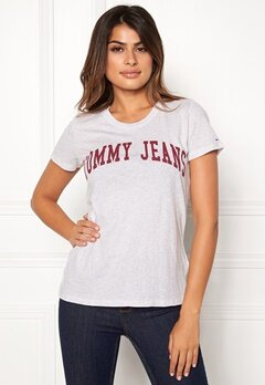 TOMMY JEANS Clean Logo Tee Pale Grey Heather Bubbleroom.dk
