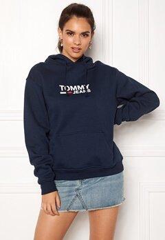 TOMMY JEANS Corp Logo Hoodie 002 Black Iris Bubbleroom.dk