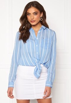 TOMMY JEANS Front Knot Shirt 0FO White/Moderate B Bubbleroom.dk