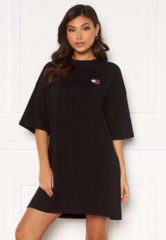TOMMY JEANS Oversized Badge Tee Dress Black Bubbleroom.dk