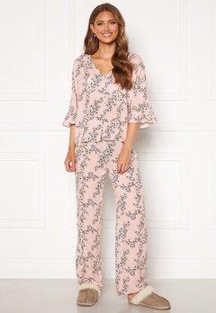 Trendyol Flower Printed Pyjama Set Pudra/Powder Pink Bubbleroom.dk