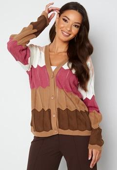 Trendyol V-Neck Stripe Knitted Cardigan Camel bubbleroom.dk