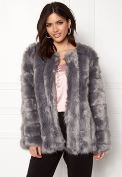Urban Mist Plush Faux Fur Coat Grey Bubbleroom.dk