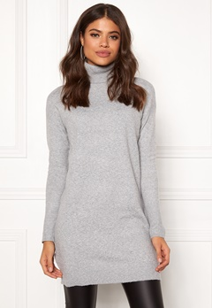 VERO MODA Brilliant LS Rollneck Dress Light Grey Melange Bubbleroom.dk