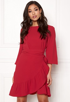 VERO MODA Cita 3/4 Bell Wrap Dress Chinese Red Bubbleroom.dk