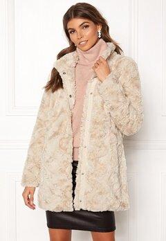 VERO MODA Curl Faux Fur Jacket Oatmeal Bubbleroom.dk