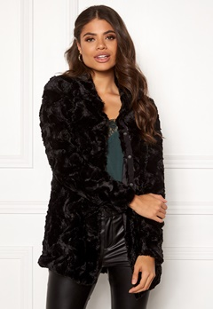 VERO MODA Curl High Faux Fur Jacket Black Bubbleroom.dk