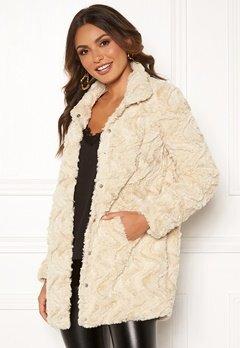 VERO MODA Curl High Faux Fur Jacket Oatmeal Bubbleroom.dk