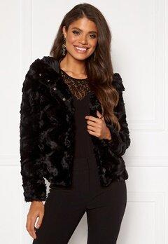 VERO MODA Curl Hoody Faux Fur Black Bubbleroom.dk