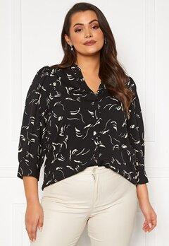 Vero Moda Curve Odea 3/4 V-neck Shirt Black AOP Birch Bubbleroom.dk