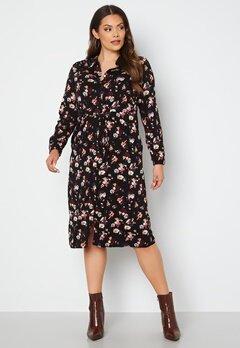 Vero Moda Curve Prina LS Midi Shirt Dress Black AOP bubbleroom.dk