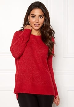 VERO MODA Cute LS Oversize Knit Chinese Red Bubbleroom.dk