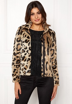 VERO MODA EA Leopard Short Faux Fur Silver Mink Bubbleroom.dk