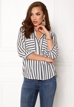 VERO MODA Erika Stripe 3/4 Shirt Snow White Stripes Bubbleroom.dk
