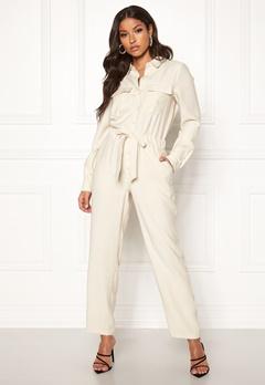 VERO MODA Eva L/S Button Jumpsuit Bone White Bubbleroom.dk