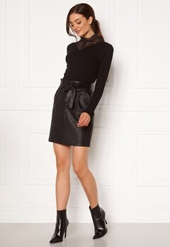 VERO MODA Eva Paperbag Short Coated Skirt Black Bubbleroom.dk