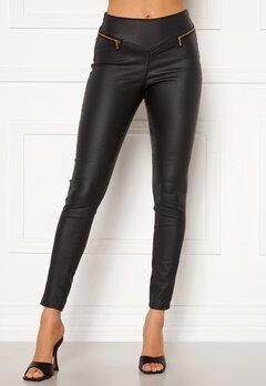 VERO MODA Geller HR Slim Coated Zip Pants Black Bubbleroom.dk