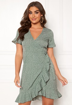VERO MODA Henna 2/4 Wrap Dress Laurel Wreath Bubbleroom.dk