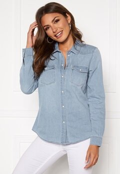 VERO MODA Maria LS Denim Slim Shirt Light Blue Denim Bubbleroom.dk