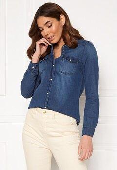 VERO MODA Maria LS Denim Slim Shirt Medium Blue Denim Bubbleroom.dk