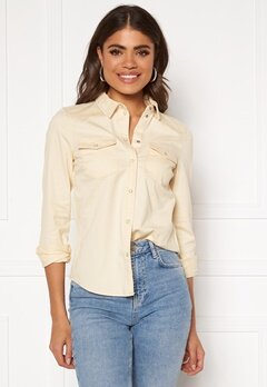 VERO MODA Maria LS Slim Shirt Birch Bubbleroom.dk