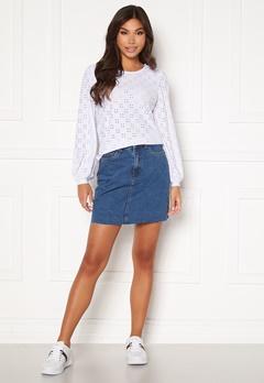 VERO MODA Mikky Raw Denim Skirt Medium Blue Denim Bubbleroom.dk