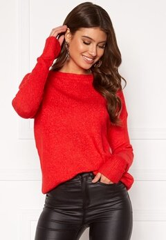 VERO MODA Mure ls O-neck Knit High Risk Red Bubbleroom.dk
