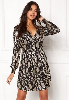 VERO MODA Romeo LS Wrap Short Dress Black Bubbleroom.dk