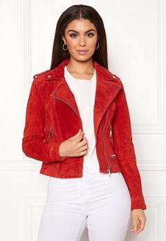 VERO MODA Royce Short Suede Jacket Fiery Red Bubbleroom.dk