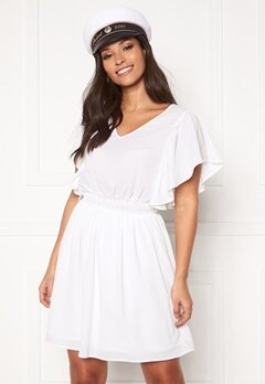 VERO MODA Sasha SS Frill Dress Bright White Bubbleroom.dk