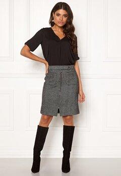 VERO MODA Toya Herringbone Skirt Black/White Bubbleroom.dk