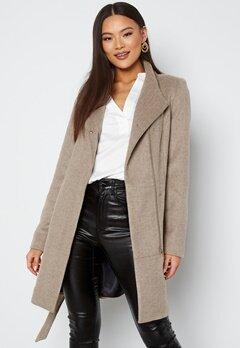 VERO MODA Twodope Belt 3/4 wool jacket Silver Mink Melange bubbleroom.dk