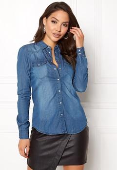 VERO MODA Vera LS Denim Shirt Medium Blue Denim Bubbleroom.dk